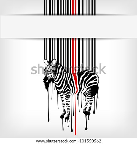abstract vector zebra silhouette with barcode - stock vector