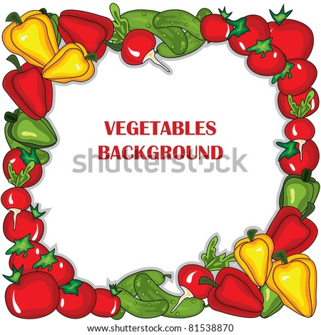 Abstract vegetables  frame. Vector illustration background.  Place for your text - stock vector
