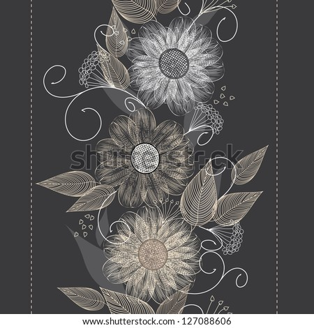 Abstract vertical flower seamless pattern background - stock vector