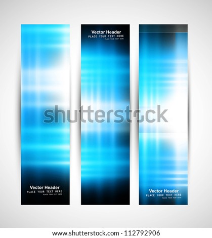 Abstract vertical  header blue light wave whit vector background - stock vector