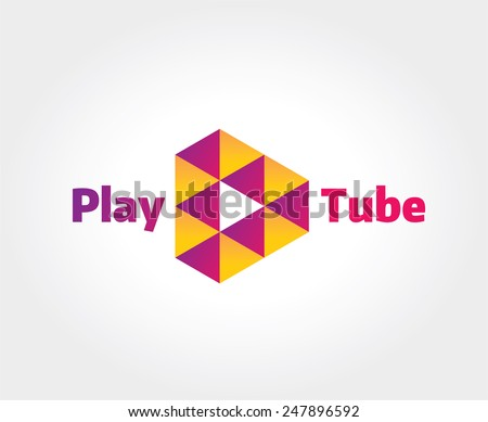 Abstract video hosting logo template for branding and design - stock vector