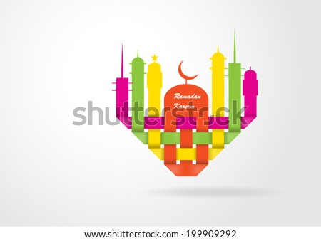 Abstract view of Mosque or Masjid in heart shape paper design, vector eps10 - stock vector