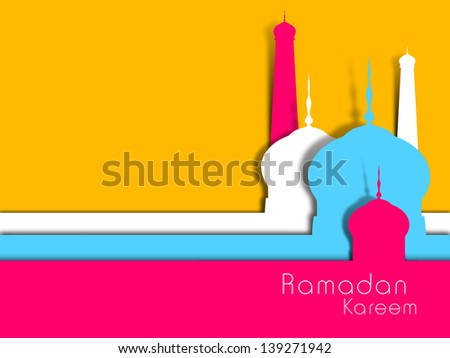 Abstract view of Mosque or Masjid on yellow background. - stock vector