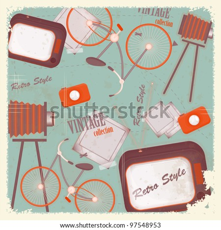 Abstract vintage background - retro items and cards - vector illustration