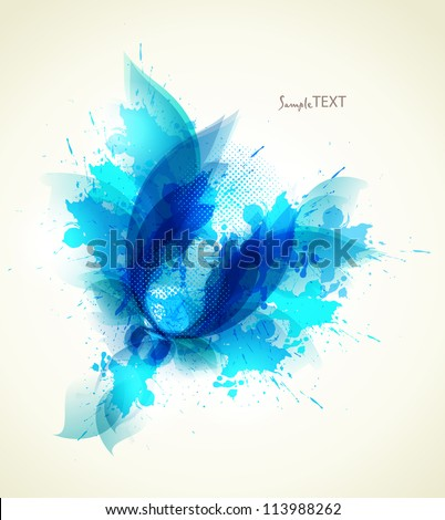 Abstract vintage Background with floral element and colorful blots. - stock vector