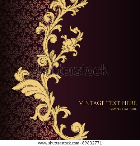 Abstract vintage background with floral retro element - stock vector