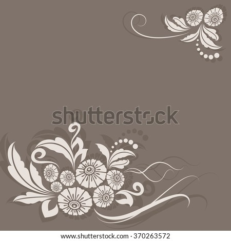 Abstract vintage beige flower corner decoration vector card.