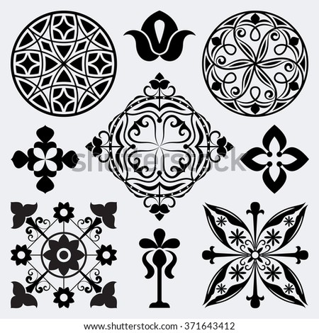 Abstract vintage design elements isolated on white background. - stock vector