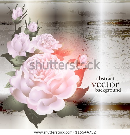 abstract vintage elegant vector background with with vegetative, floral ornament - stock vector