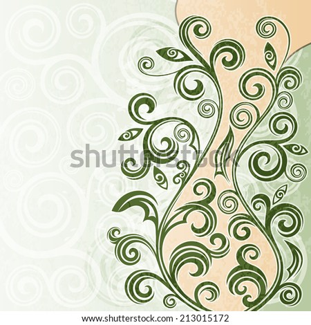 Abstract vintage floral grunge illustration. - stock vector