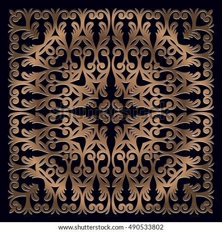 Abstract vintage floral openwork bronze color decor design element on the basis of a symmetrical geometric figures