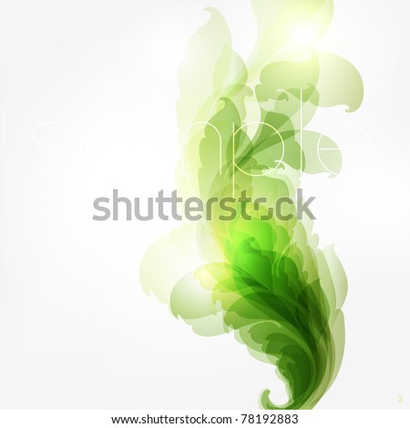 Abstract vintage green background for design with leafs and flowers. Retro eps 10 - stock vector