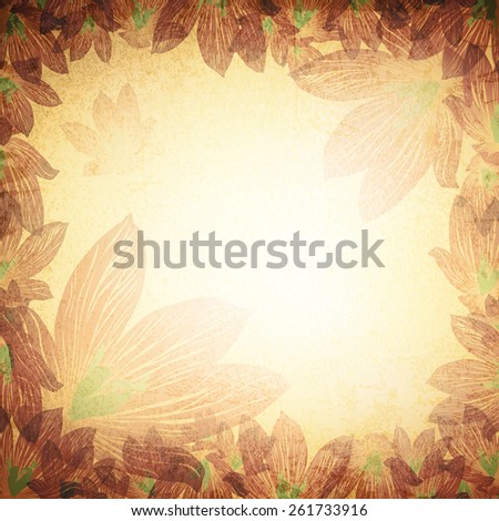 Abstract Vintage Grunge Floral Background With Copyspace - stock vector