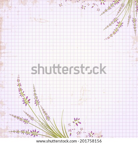 Abstract Vintage Notepad Notebook in a Cage Lavender Floral Decorated  - stock vector