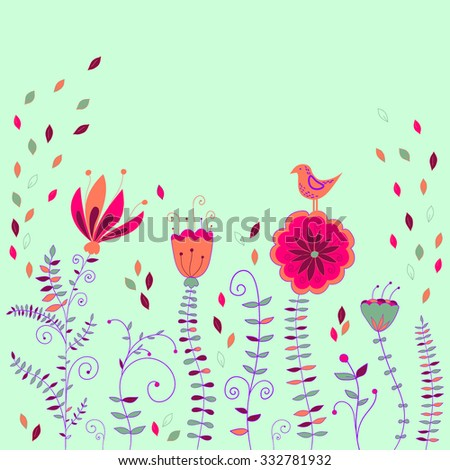 abstract vintage retro floral background in vector with floral elements - stock vector - stock vector