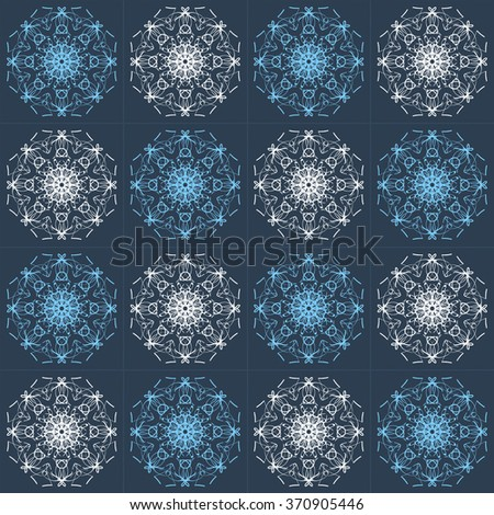 Abstract Vintage Seamless Pattern on Dark Blue Background. Flora Doodle Style, Floral Pattern.  Vector Illustration. - stock vector