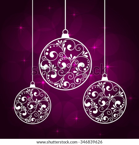 abstract violet background with hanging chrismas balls and stars. vector illustration - stock vector