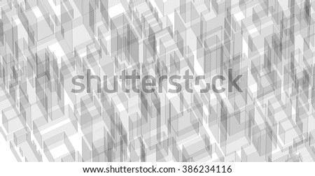 Abstract virtual wireframe image of 3D building. - stock vector