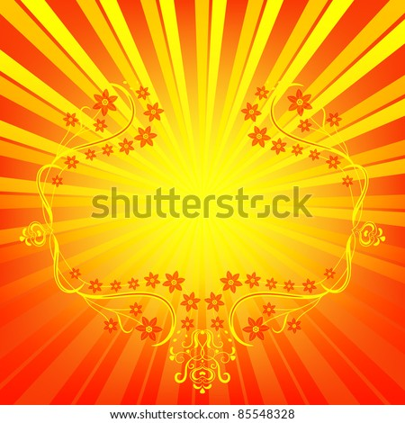 Abstract vivid orange background with vintage floral frame (vector EPS 10) - stock vector