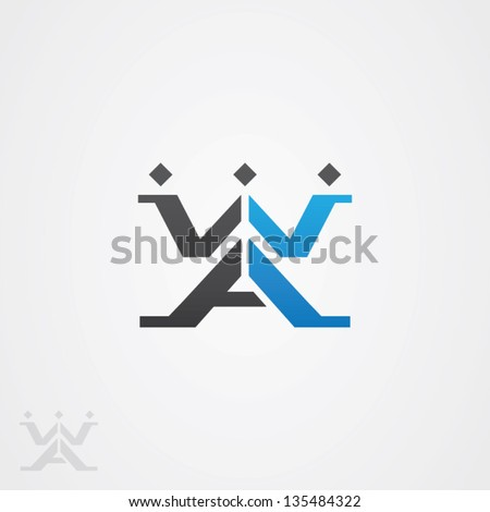 Abstract W and A Shaped Logo Symbol - stock vector