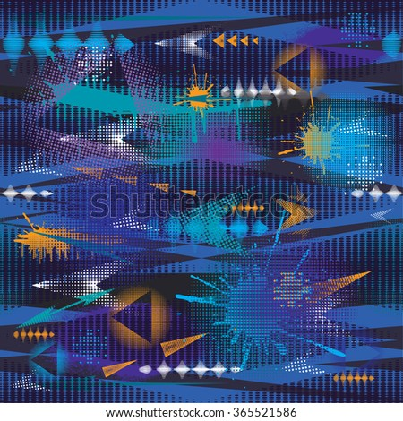 Abstract wallpaper in dark colors with blue, green, orange, white elements. Seamless pattern with grunge texture. Urban background with shabby, lines, arrows, dots. Pattern for boys. - stock vector