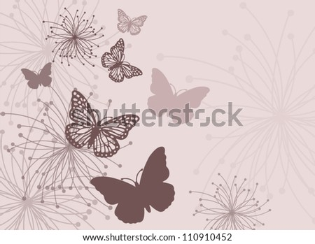 Abstract wallpaper with butterflies and flowers - stock vector