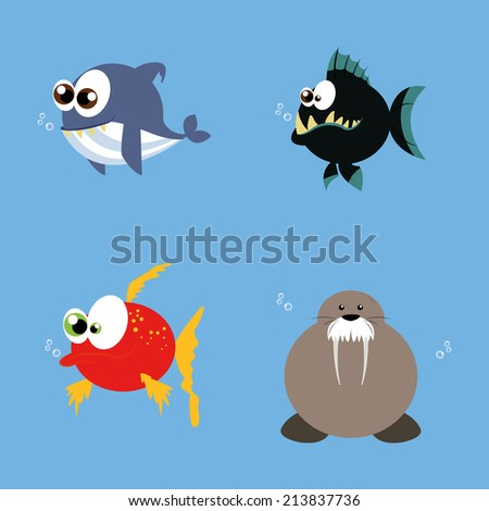 abstract water animals on a blue background