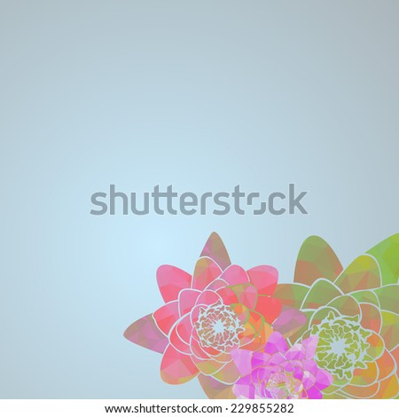 Abstract water lilies with triangle pattern