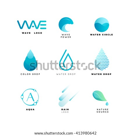 Abstract water logo set. Wave geometric logo vector illustration. Nature elements, alternative energy and renewable energy logo. Aqua logo design template - stock vector