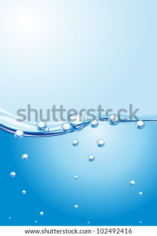 abstract  water wave with bubbles. vector illustration