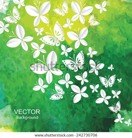 Abstract watercolor background with paper butterflies. Vector. - stock vector