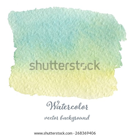 Abstract watercolor green and blue hand drawn texture, isolated on white background, vector eps10 - stock vector