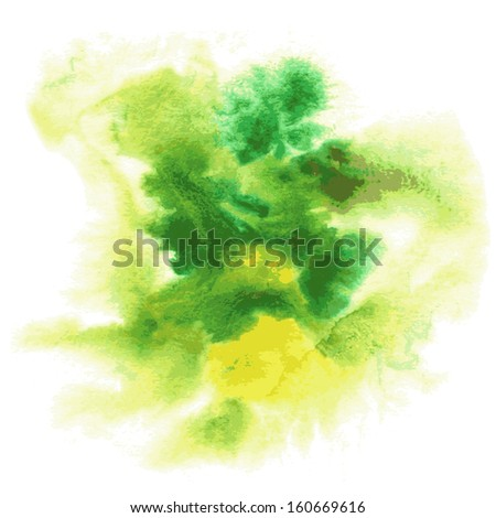 Abstract watercolor hand painted background in green colors. Vector - stock vector