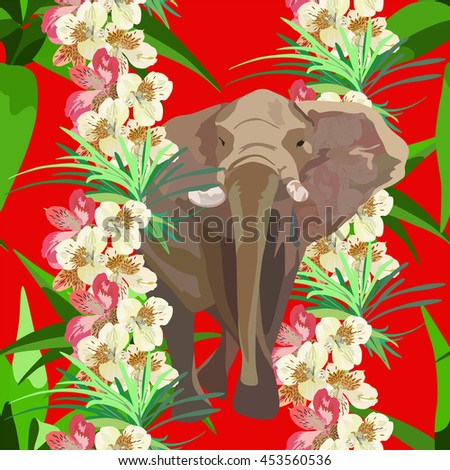 Abstract watercolor paint elephant in flower garlands, tropical floral Indian forest on the red background, color vector Fashion design print, animals seamless wallpaper, summer - stock vector