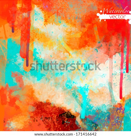 Abstract watercolor palette of  Grange color, mix color, background,vector illustration,a mixture of colors, stains with a spray of water colors, the author's work. - stock vector