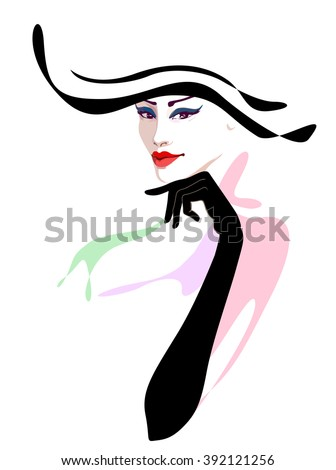Abstract watercolor portrait of a girl, striped hat (black, white), red lipstick, blue eye shadow, beauty logo, fashion, women shop, trendy stylish texture spring  fall,  color vector prints - stock vector