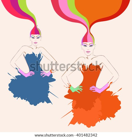 Abstract watercolor portrait of young women (model) with red hair, creative make-up, blue and red dresses, beauty logo, fashion - stock vector
