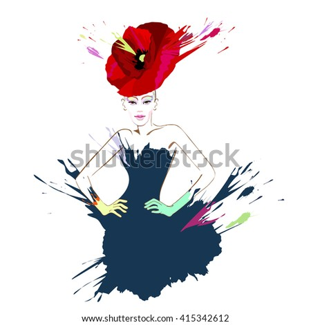Abstract watercolor portrait of young women (model) with red hats (poppies), creative make-up, blue  dress, watercolor splashes and stains, beauty, logo fashion, color vector prints - stock vector