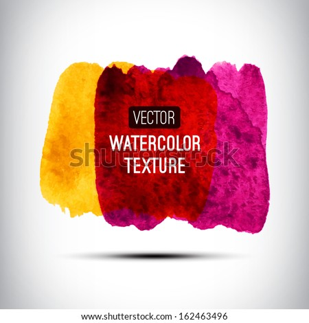 Abstract watercolor splatter. Watercolour art, hand paint on white background. Watercolor design elements. Vector illustration - stock vector