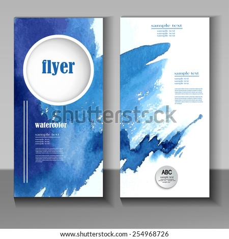 abstract watercolor style brochure design in blue - stock vector