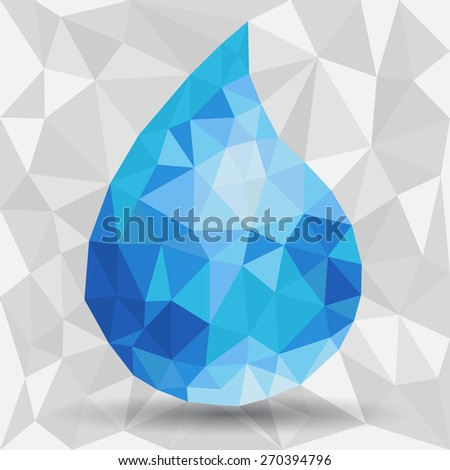 Abstract watter drops made from triangles - stock vector