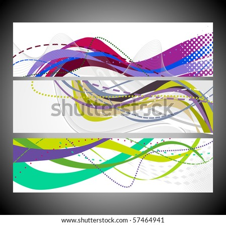 Abstract wave banners multi-colored, vector illustration.