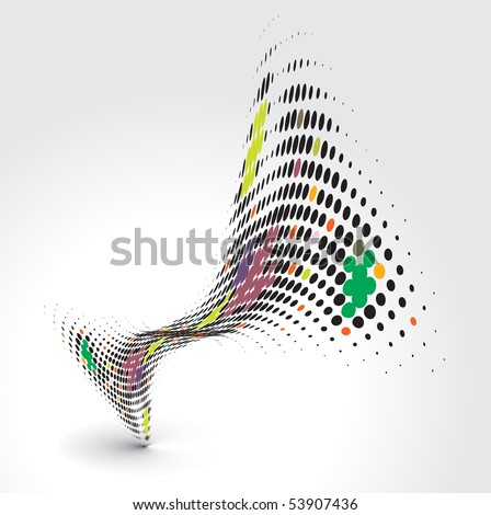 Abstract wave halftone line background with sample text background , vector illustration. - stock vector