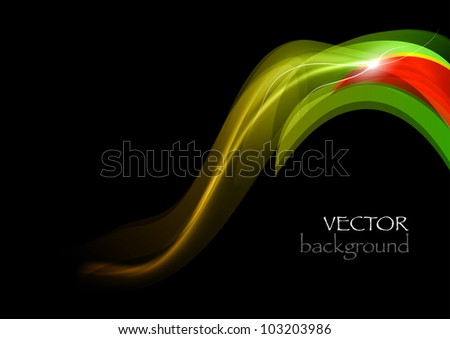 abstract wave on the dark background - stock vector