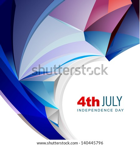abstract wave style amecian independence day vector design - stock vector