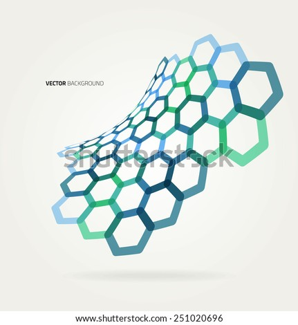 Abstract wave Vector hexagons template.  - stock vector