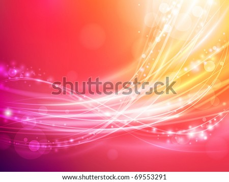 abstract wave with warm colors and sparks - stock vector