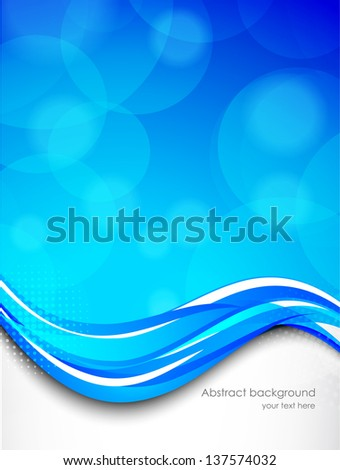 Abstract wavy background in blue color - stock vector
