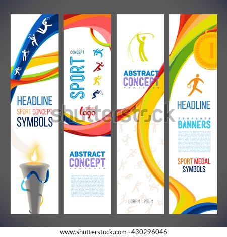 Abstract wavy lines in different colors for series of sports-related banners. Sports symbols victory torch. Torch fire, gold medals, sports award. sporting achievements icons  championship. 2016 year - stock vector