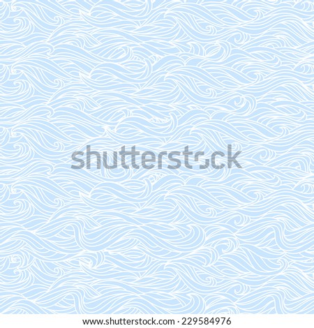 Abstract Wavy Lite Blue and White Seamless Texture  - stock vector